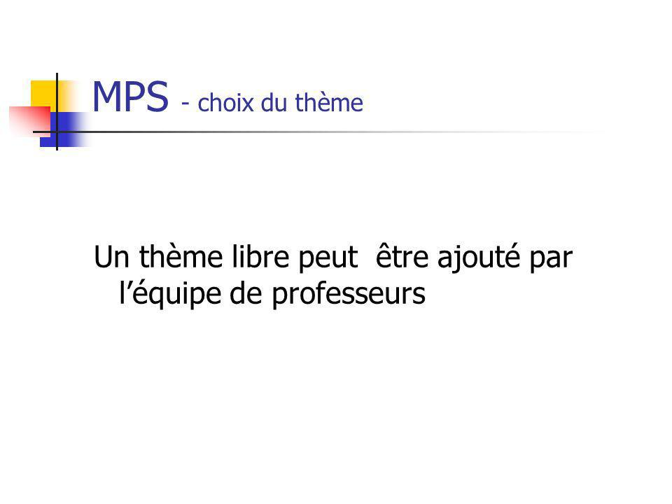 MPS - choix du thème Un thème libre peut être ajouté par l'équipe de professeurs