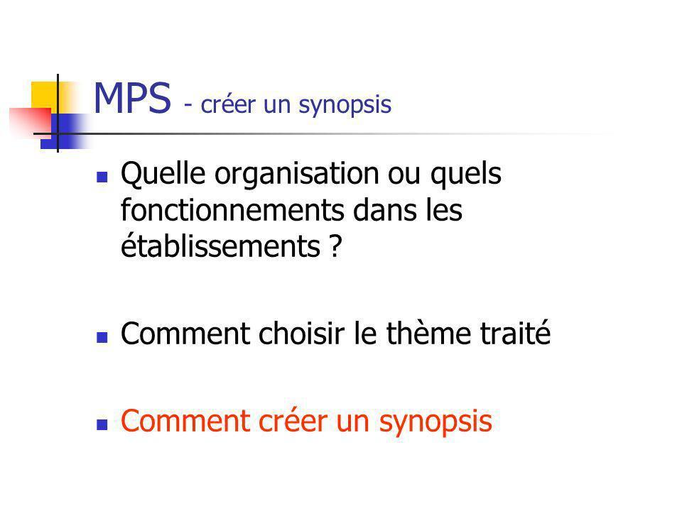 MPS - créer un synopsis Quelle organisation ou quels fonctionnements dans les établissements Comment choisir le thème traité.