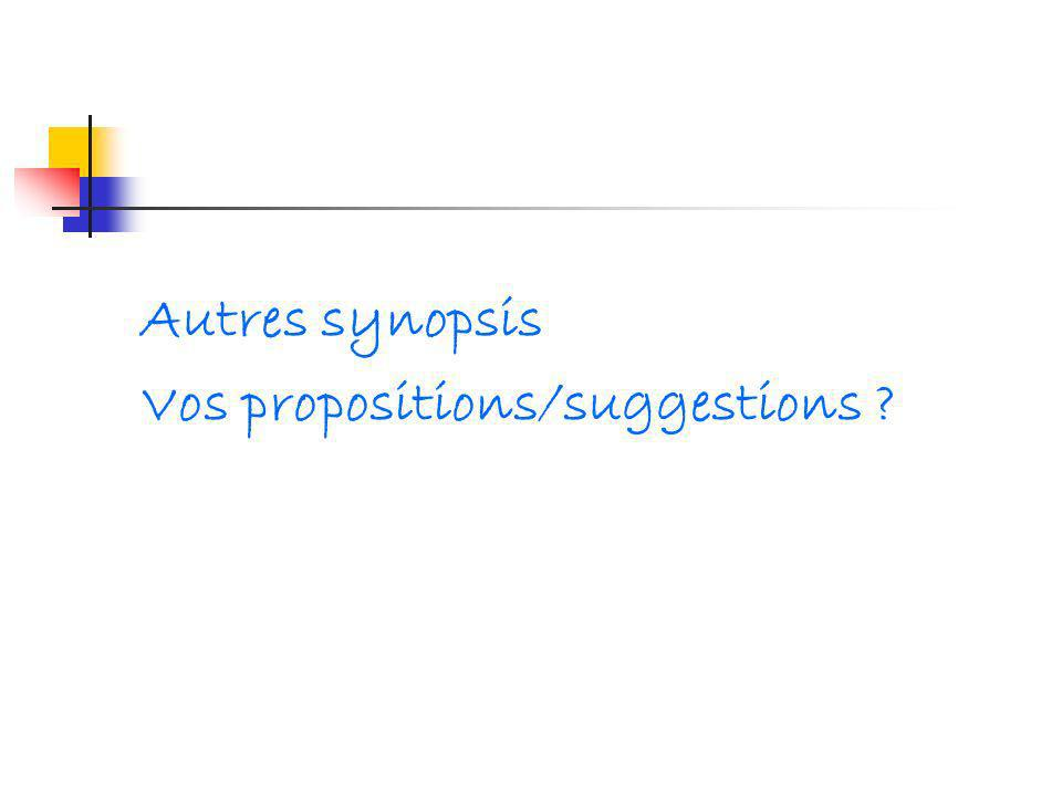 Autres synopsis Vos propositions/suggestions