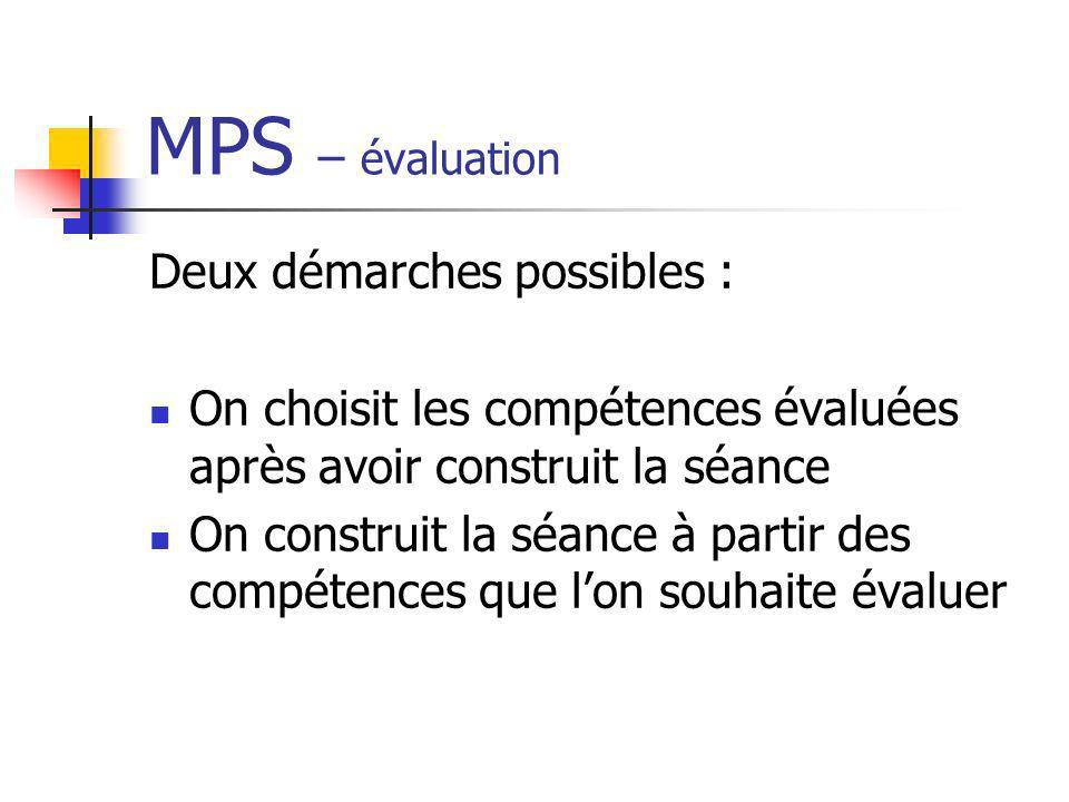 MPS – évaluation Deux démarches possibles :