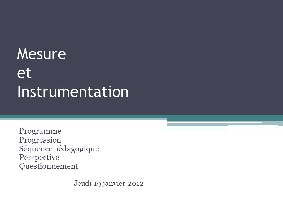 Mesure et Instrumentation