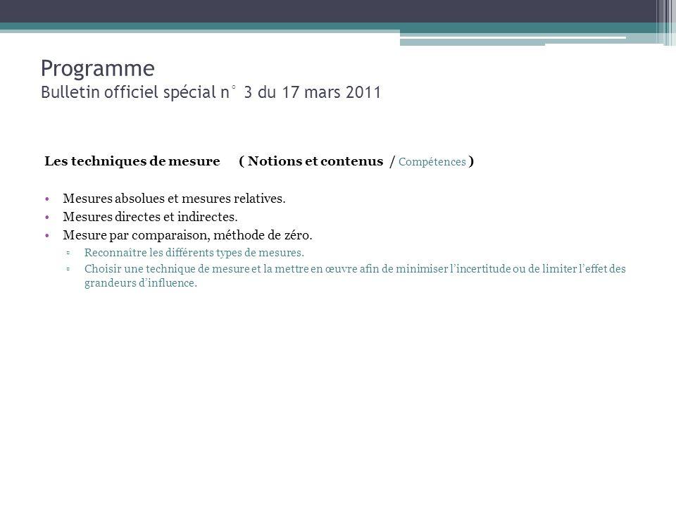 Programme Bulletin officiel spécial n° 3 du 17 mars 2011