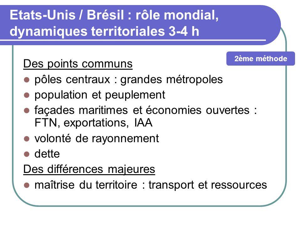 Etats-Unis / Brésil : rôle mondial, dynamiques territoriales 3-4 h