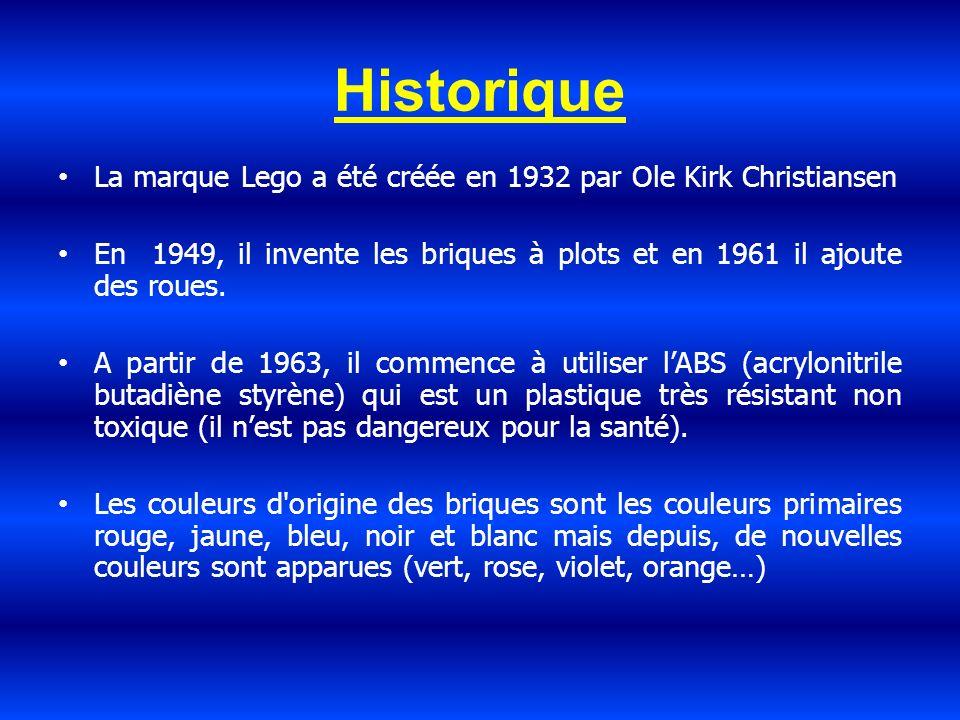 Historique La marque Lego a été créée en 1932 par Ole Kirk Christiansen. En 1949, il invente les briques à plots et en 1961 il ajoute des roues.