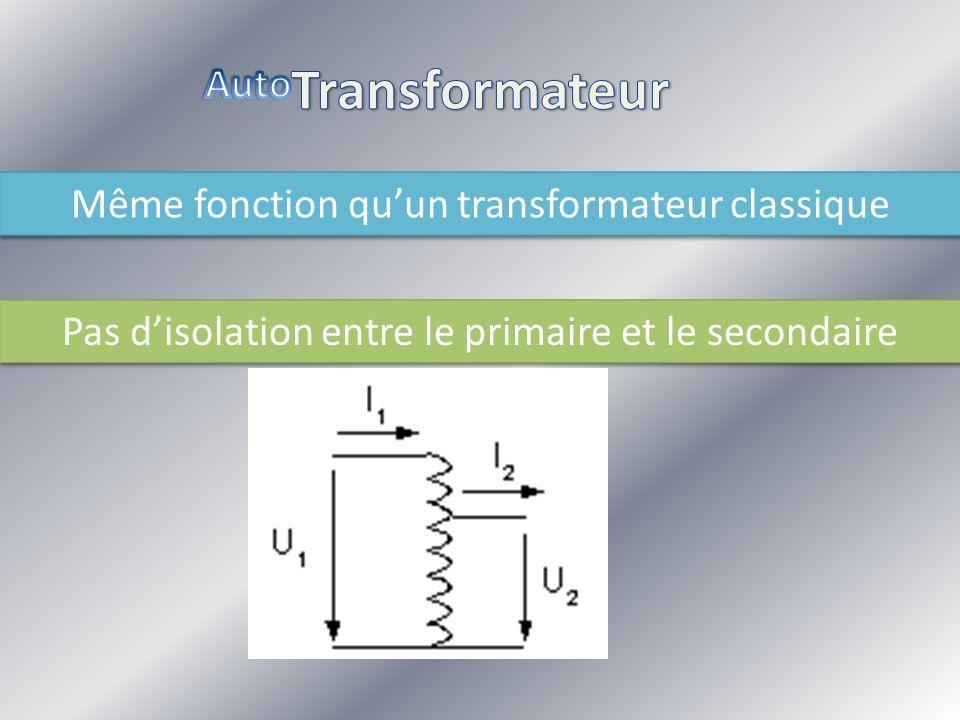 Transformateur Auto Même fonction qu'un transformateur classique