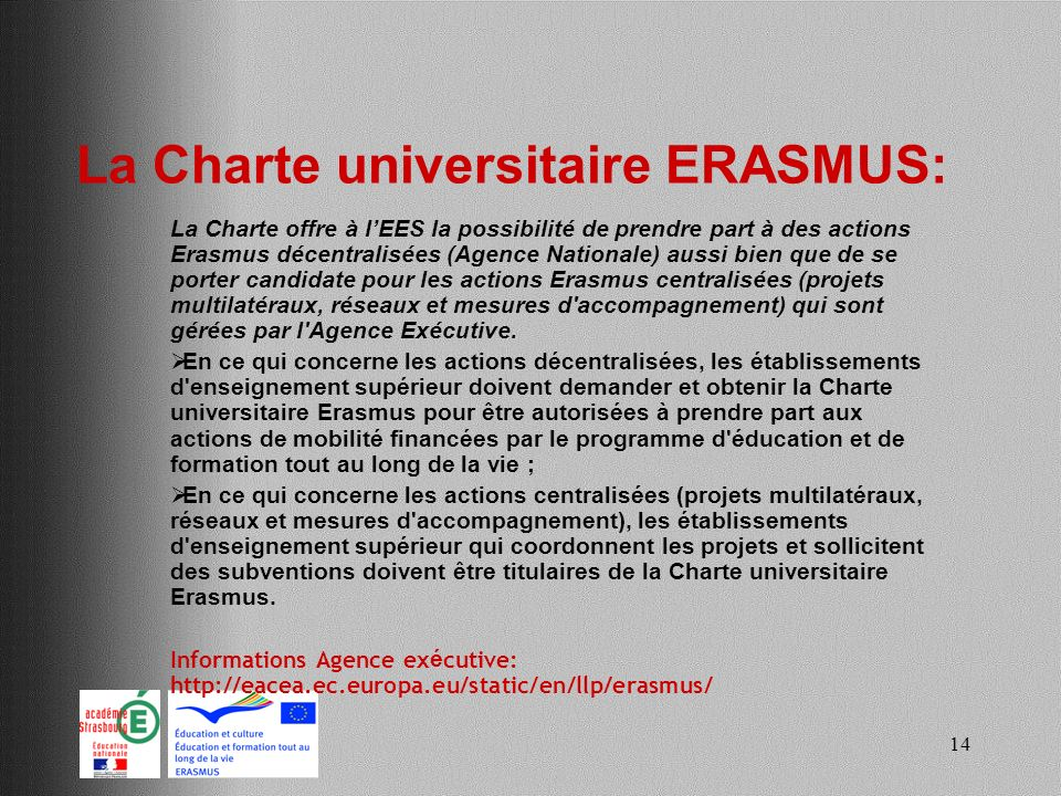 La Charte universitaire ERASMUS: