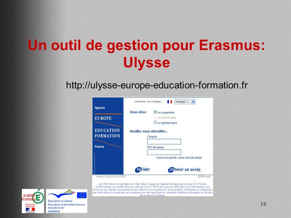 Un outil de gestion pour Erasmus: Ulysse