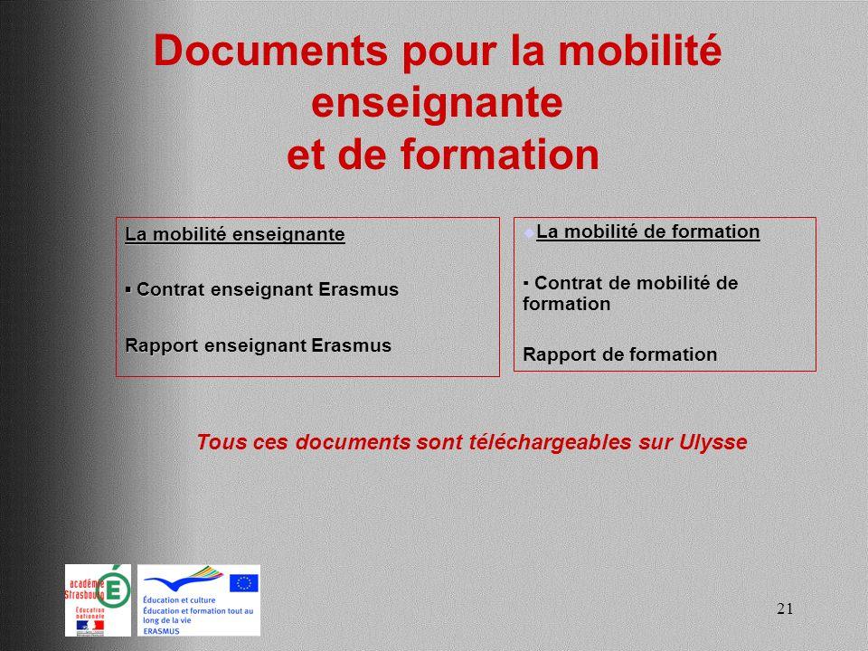 Documents pour la mobilité enseignante et de formation