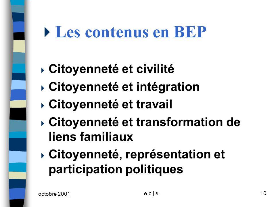 Les contenus en BEP Citoyenneté et civilité Citoyenneté et intégration