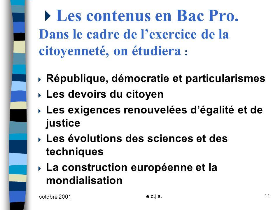 Les contenus en Bac Pro. Dans le cadre de l'exercice de la citoyenneté, on étudiera :