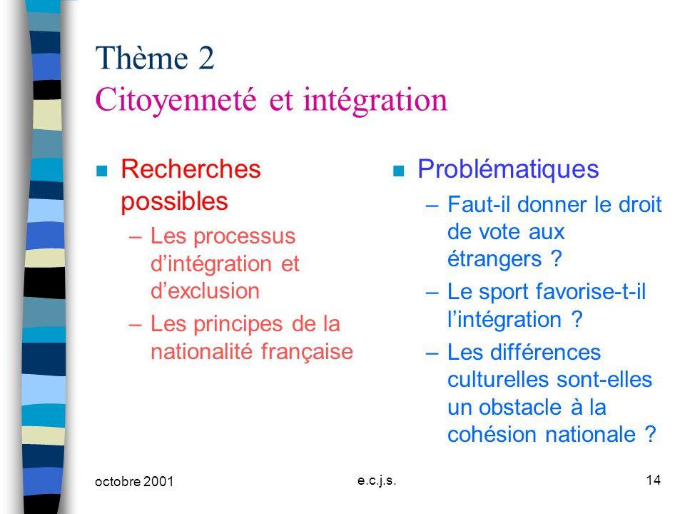Thème 2 Citoyenneté et intégration