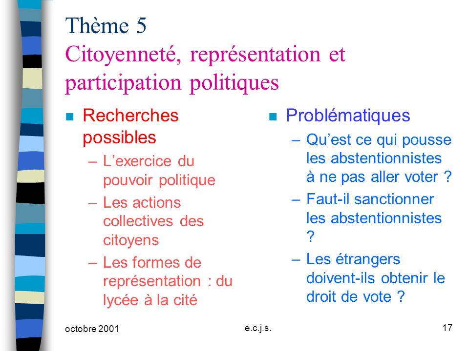 Thème 5 Citoyenneté, représentation et participation politiques