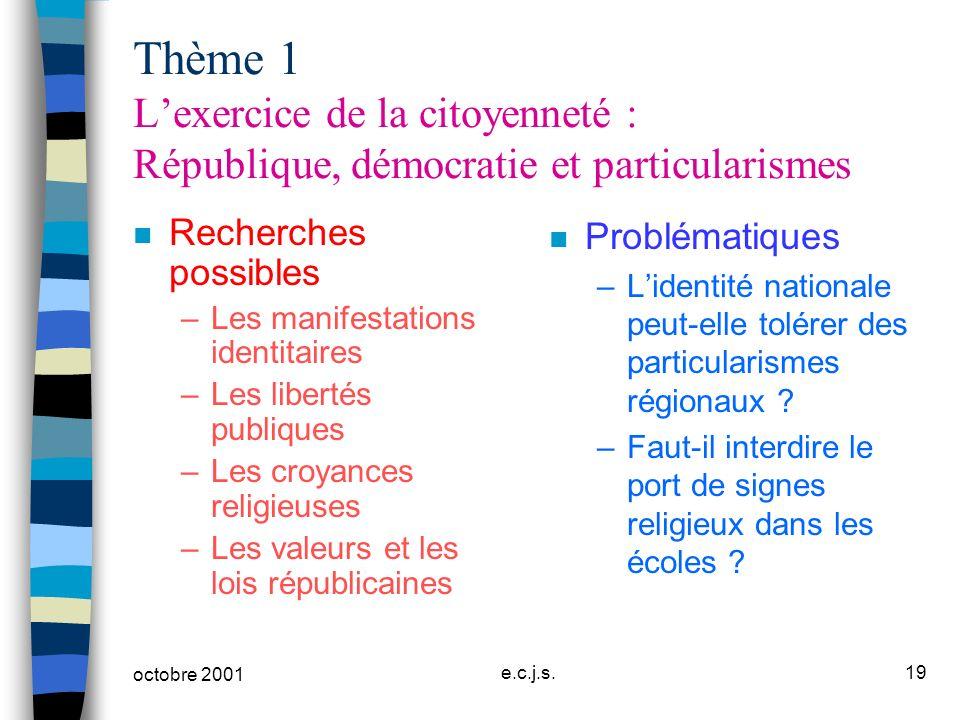 Thème 1 L'exercice de la citoyenneté : République, démocratie et particularismes