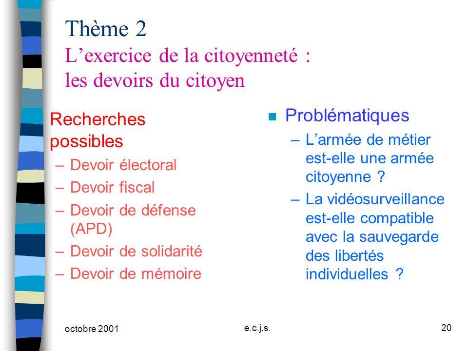 Thème 2 L'exercice de la citoyenneté : les devoirs du citoyen