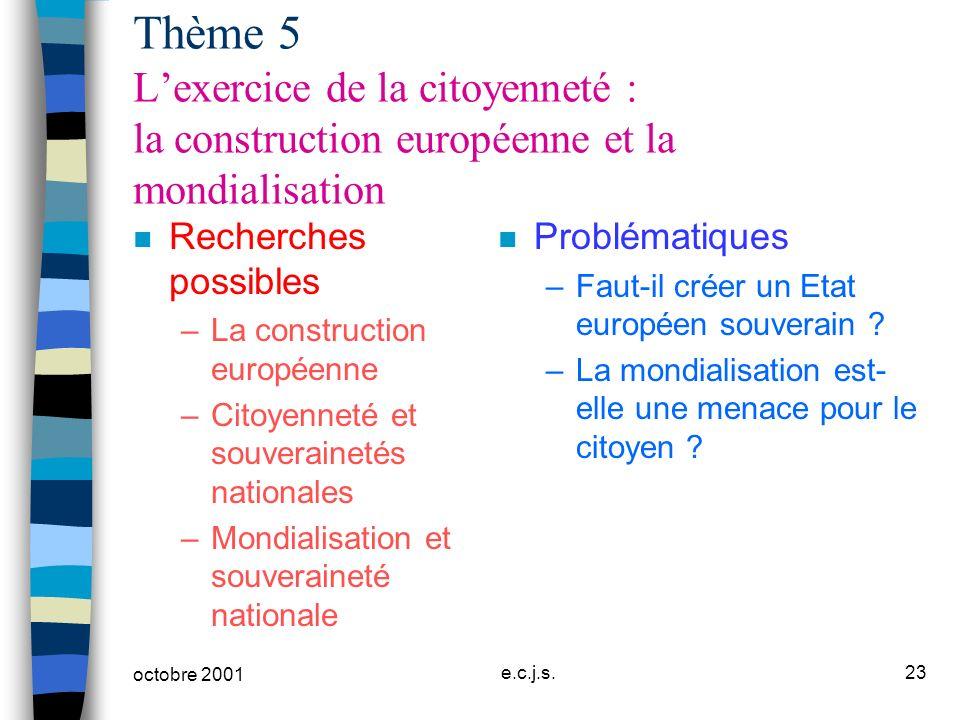 Thème 5 L'exercice de la citoyenneté : la construction européenne et la mondialisation