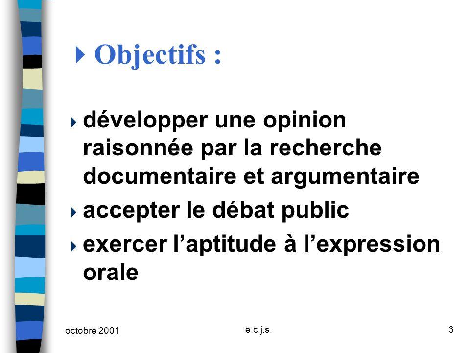 Objectifs :développer une opinion raisonnée par la recherche documentaire et argumentaire. accepter le débat public.