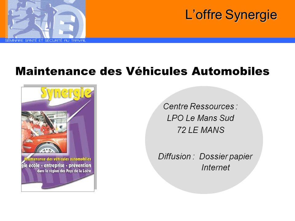 L'offre Synergie Maintenance des Véhicules Automobiles