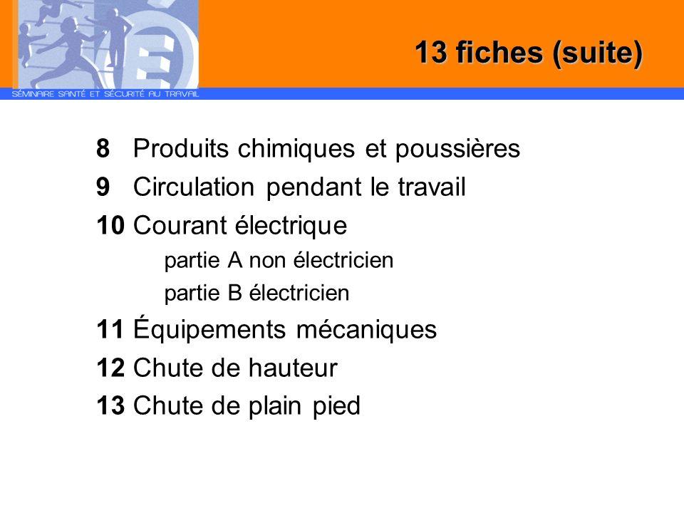 13 fiches (suite) 8 Produits chimiques et poussières