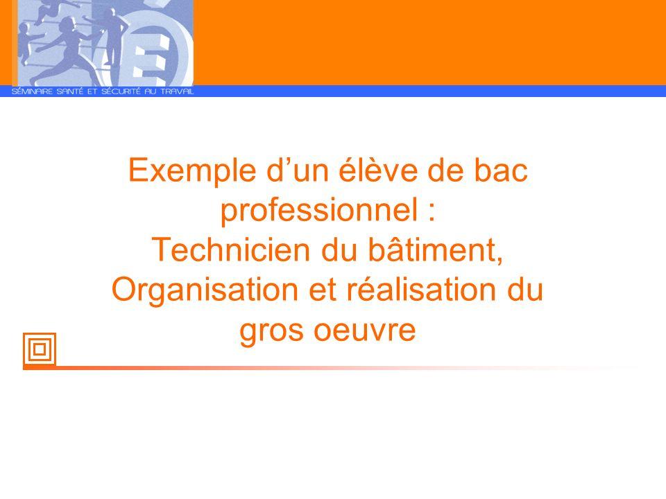 Exemple d'un élève de bac professionnel : Technicien du bâtiment, Organisation et réalisation du gros oeuvre