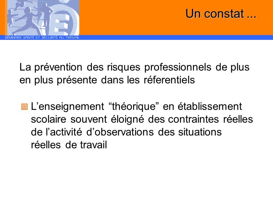 Un constat ... La prévention des risques professionnels de plus en plus présente dans les réferentiels.