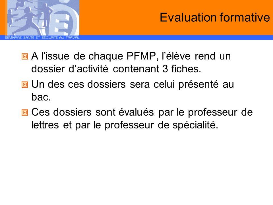 Evaluation formative A l'issue de chaque PFMP, l'élève rend un dossier d'activité contenant 3 fiches.
