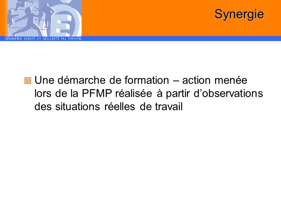 Synergie Une démarche de formation – action menée lors de la PFMP réalisée à partir d'observations des situations réelles de travail.