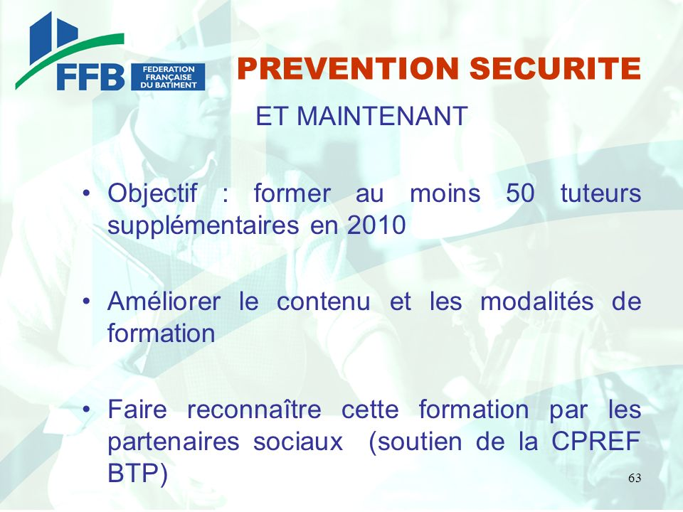 PREVENTION SECURITE ET MAINTENANT