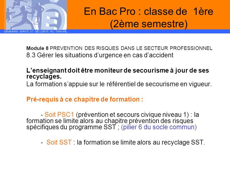 En Bac Pro : classe de 1ère (2ème semestre)