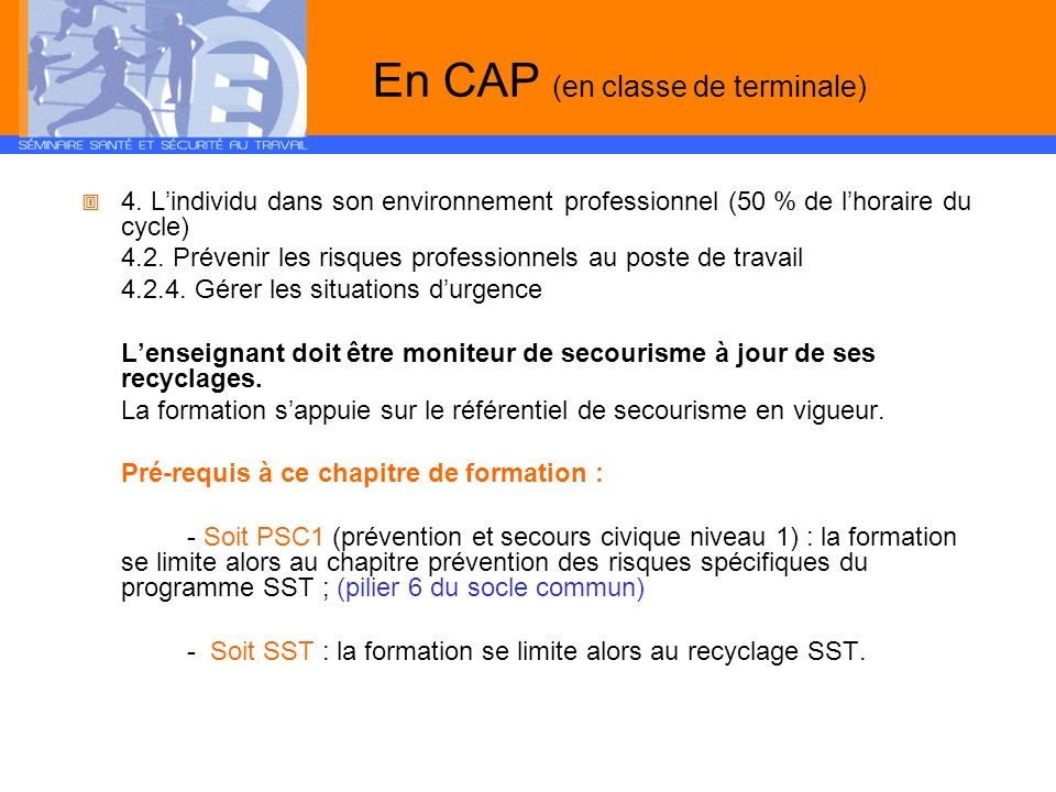En CAP (en classe de terminale)