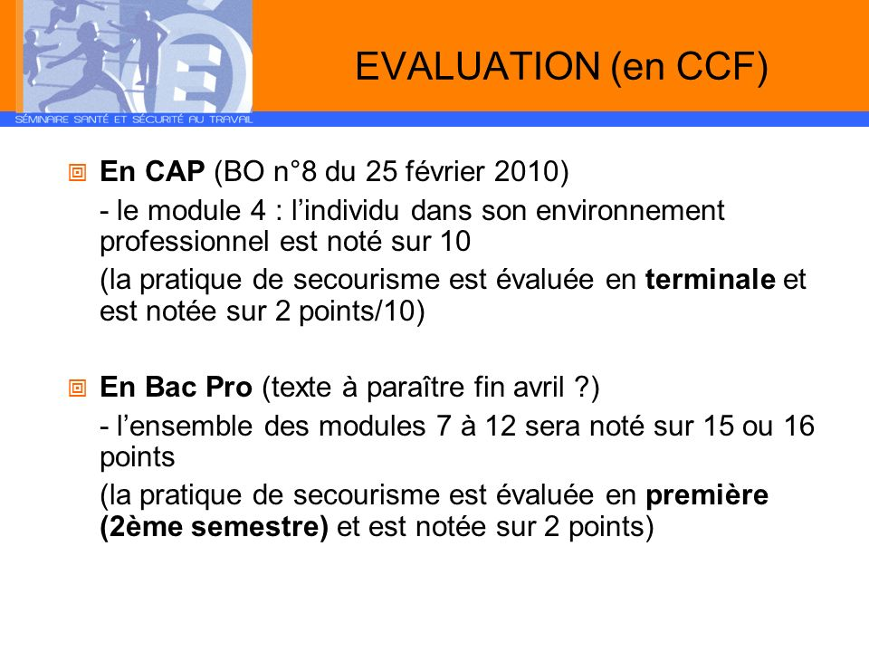 EVALUATION (en CCF) En CAP (BO n°8 du 25 février 2010)