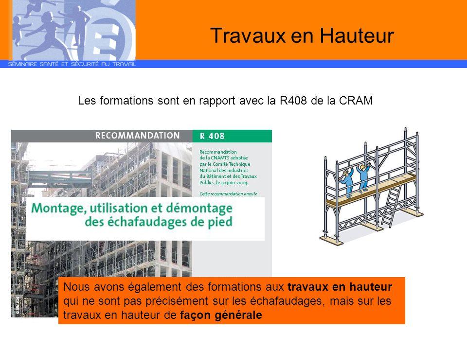 Travaux en Hauteur Les formations sont en rapport avec la R408 de la CRAM.