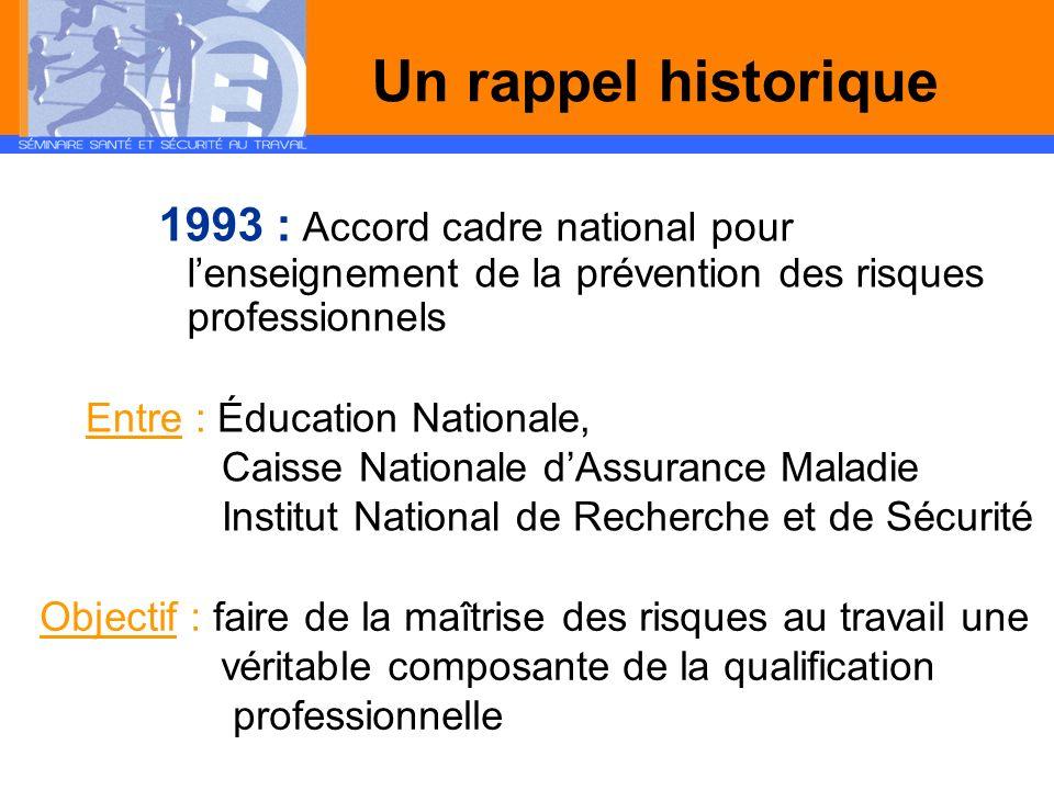 Un rappel historique 1993 : Accord cadre national pour l'enseignement de la prévention des risques professionnels.