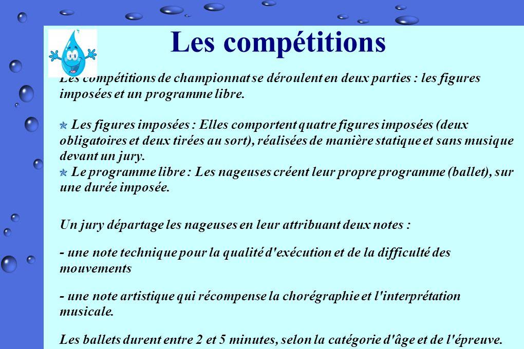 Les compétitions Les compétitions de championnat se déroulent en deux parties : les figures imposées et un programme libre.