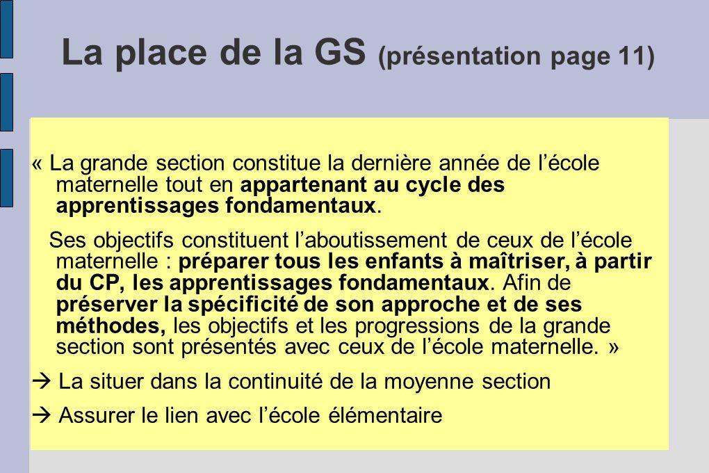 La place de la GS (présentation page 11)