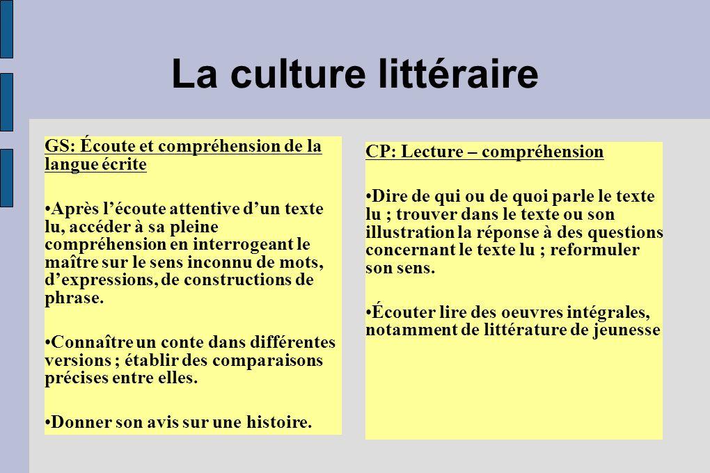 La culture littéraire GS: Écoute et compréhension de la langue écrite