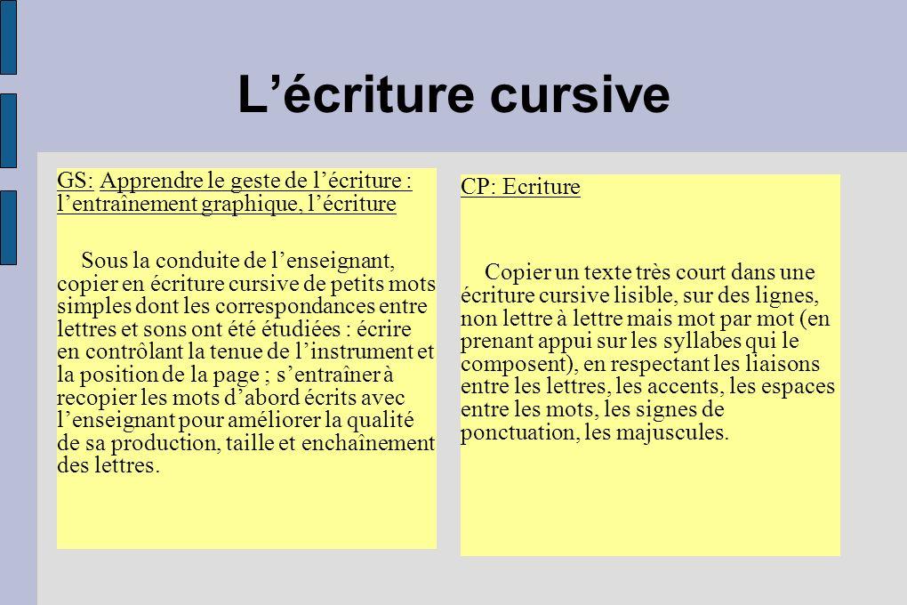 L'écriture cursive GS: Apprendre le geste de l'écriture : l'entraînement graphique, l'écriture.