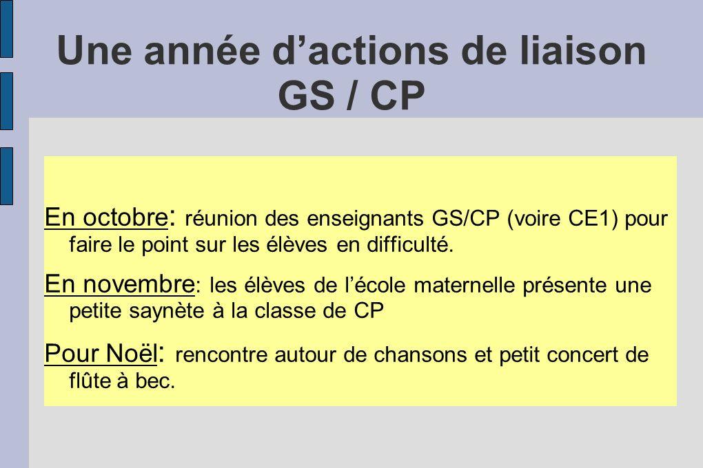 Une année d'actions de liaison GS / CP