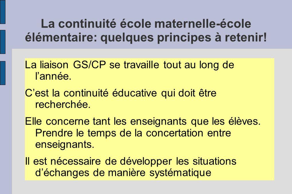 La continuité école maternelle-école élémentaire: quelques principes à retenir!