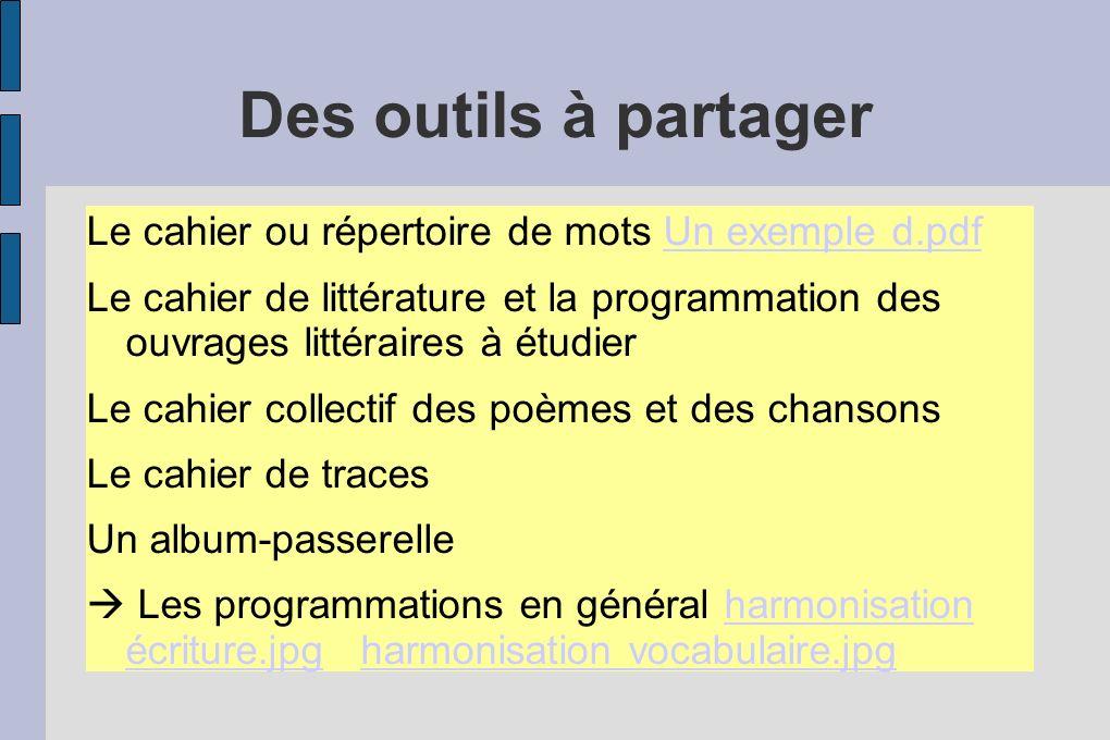 Des outils à partager Le cahier ou répertoire de mots Un exemple d.pdf