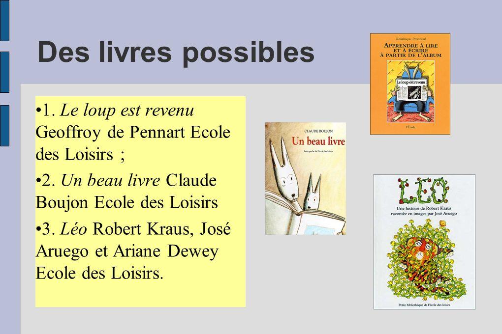 Des livres possibles 1. Le loup est revenu Geoffroy de Pennart Ecole des Loisirs ; 2. Un beau livre Claude Boujon Ecole des Loisirs.