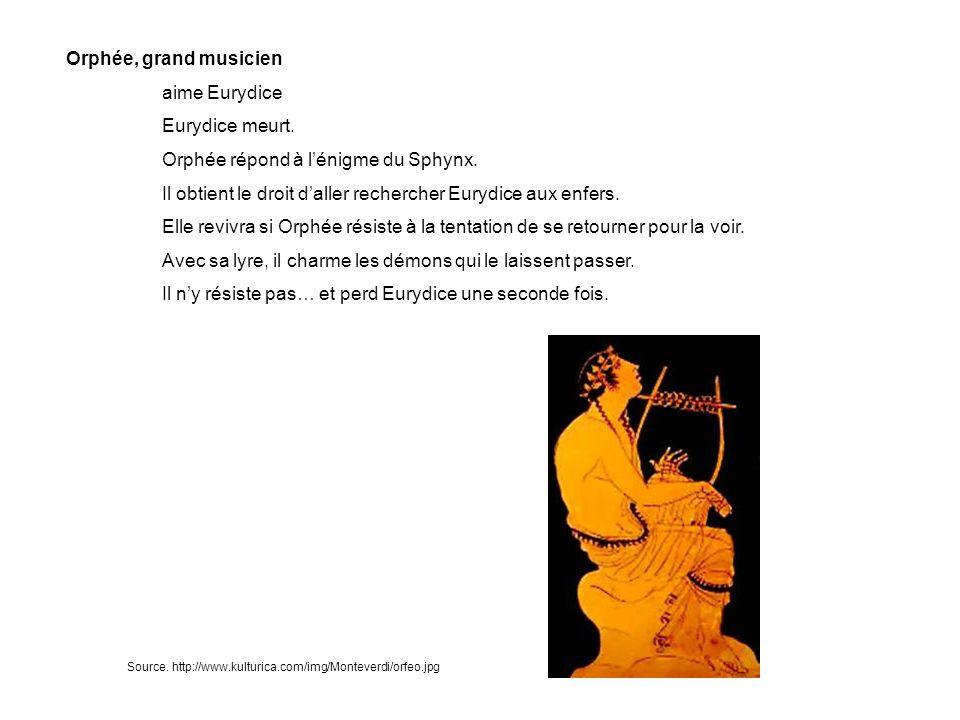 Orphée répond à l'énigme du Sphynx.