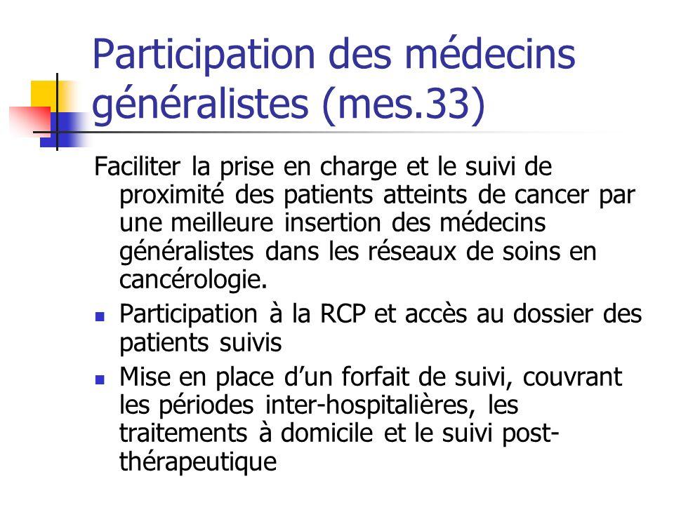 Participation des médecins généralistes (mes.33)