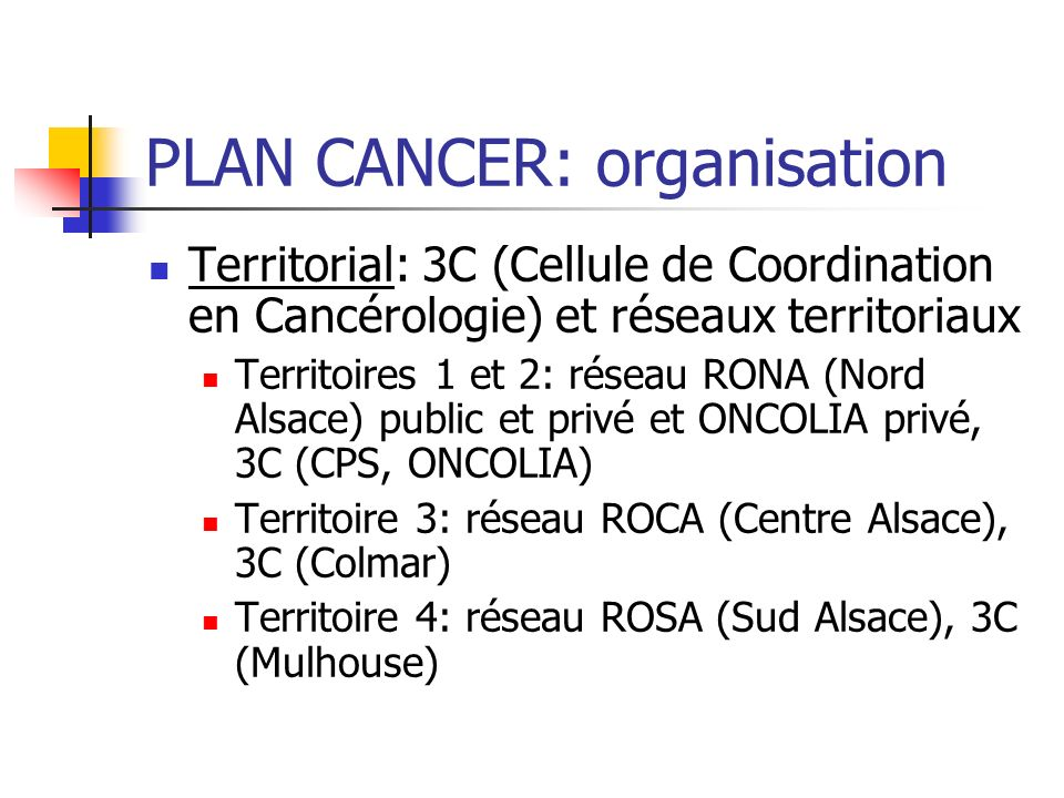 PLAN CANCER: organisation