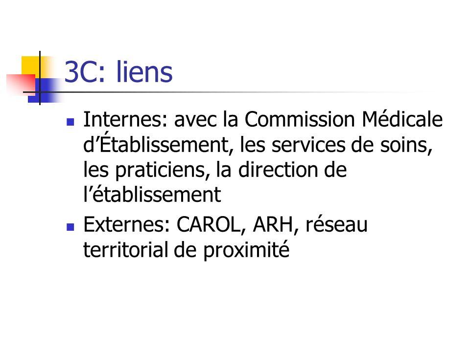 3C: liens Internes: avec la Commission Médicale d'Établissement, les services de soins, les praticiens, la direction de l'établissement.