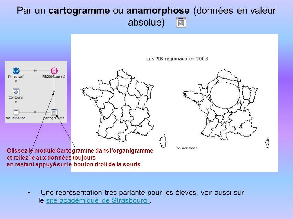 Par un cartogramme ou anamorphose (données en valeur absolue)