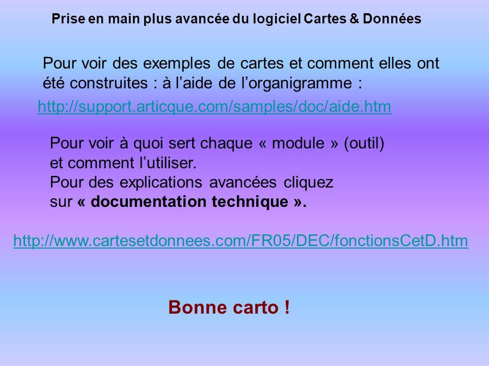 Prise en main plus avancée du logiciel Cartes & Données