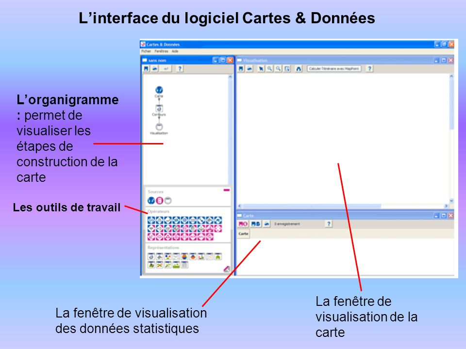 L'interface du logiciel Cartes & Données