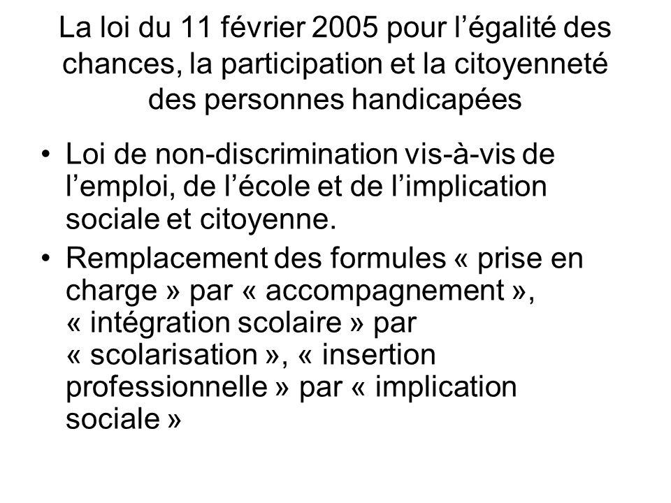 La loi du 11 février 2005 pour l'égalité des chances, la participation et la citoyenneté des personnes handicapées
