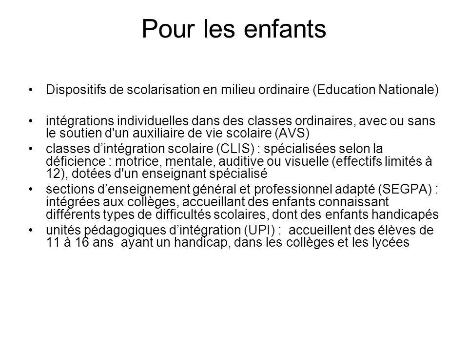 Pour les enfants Dispositifs de scolarisation en milieu ordinaire (Education Nationale)