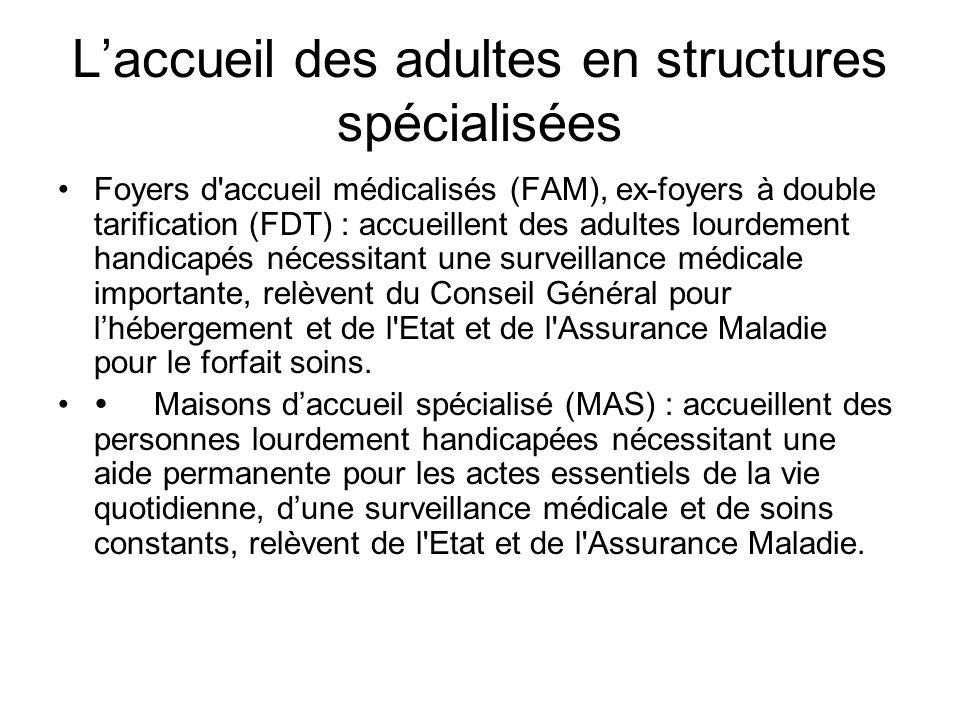 L'accueil des adultes en structures spécialisées